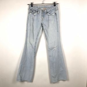True Religion Light Wash Distressed Flared Jeans